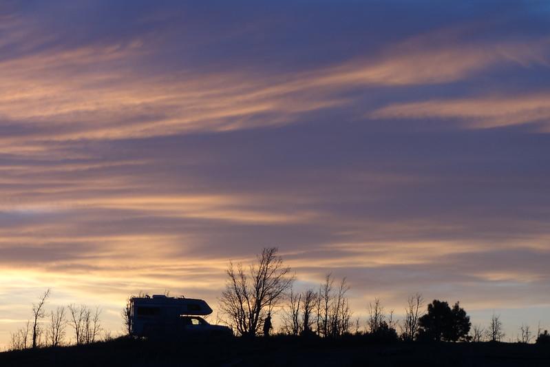 RV at sunset